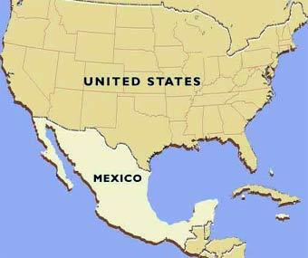 карта США и Мексики